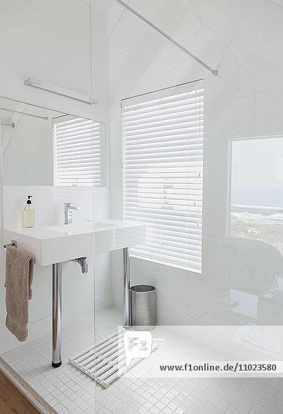 Modern white bathroom home showcase interior