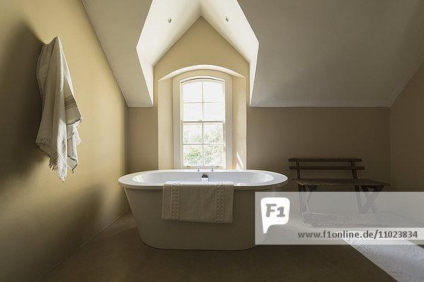 Home showcase soaking tub at sunny vaulted window