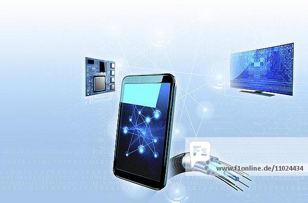 Smartphone verbunden mit Hightech-Computernetzwerk mit Glasfaserkabel und Binärcode