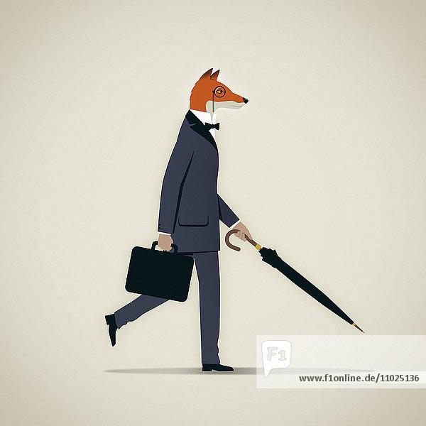 Eleganter Geschäftsmann mit Fuchskopf