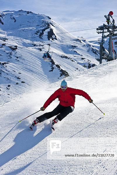 Man skiing  high angle view