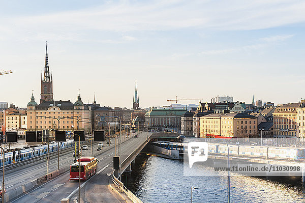 High angle view of downtown Stockholm  Sweden