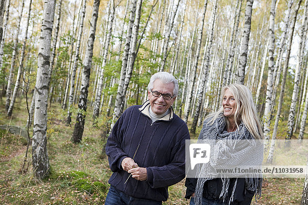 Senior couple walking in forest  Delsjon  Gothenburg  Sweden