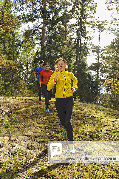 Three athletes jogging through forest