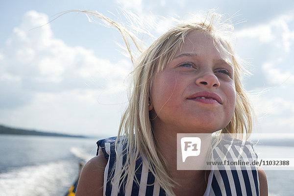 Smiling girl on boat  Siljan  Dalarna  Sweden