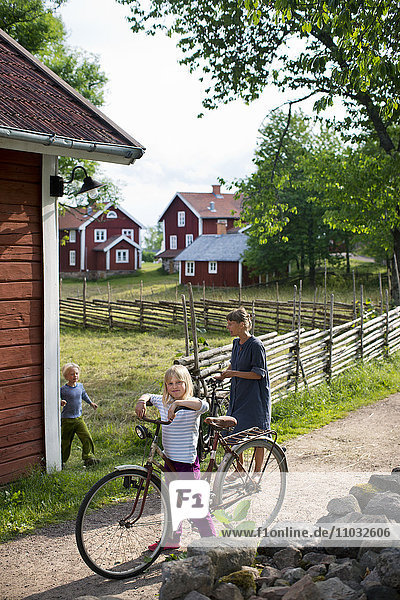 Mature couple cycling  Smaland  Sweden