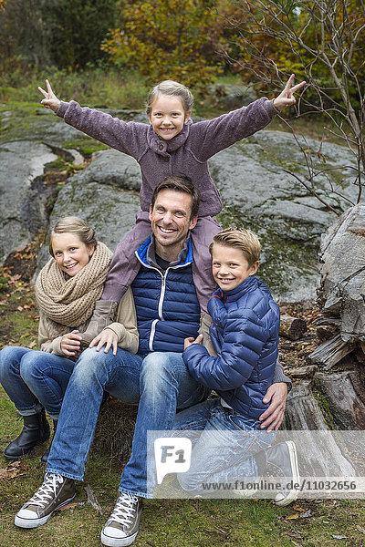 Father with three children  Karlskrona  Blekinge  Sweden