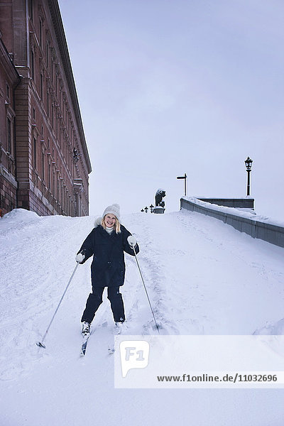 A skier at the castle in Stockholm.