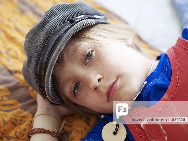 Portrait of boy wearing cap  Stockholm  Sweden
