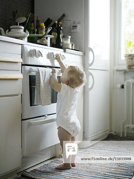 A little girl in a kitchen.