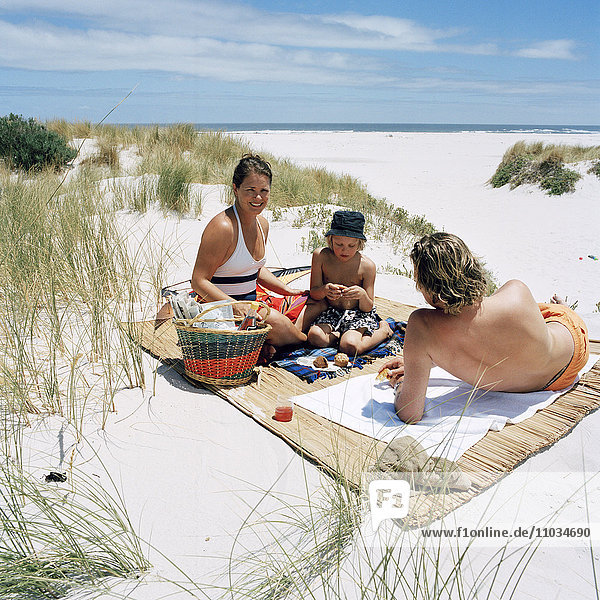 Family having a snack on the beach  Sweden.