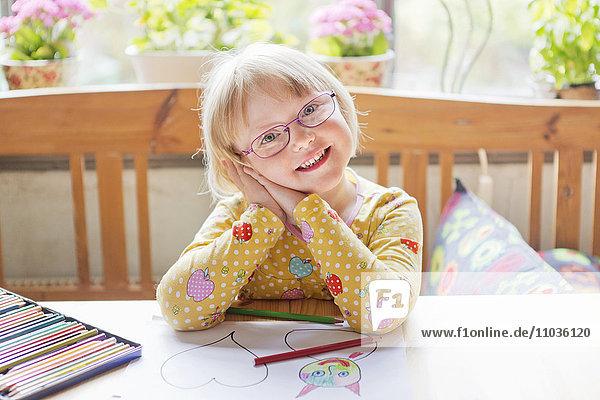 Portrait of girl wearing glasses