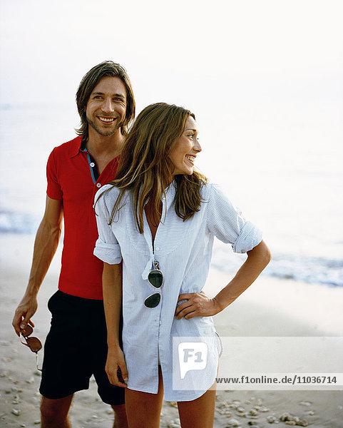 Scandinavian couple on a beach.