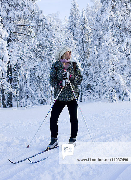 Woman skiing  Sweden.