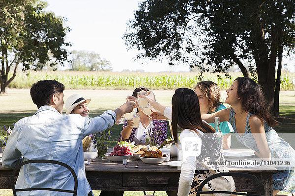 Freunde klirren an den Gläsern  geniessen das gemeinsame Essen im Freien