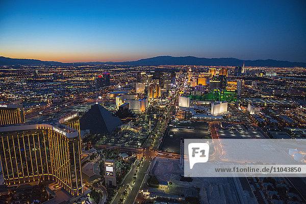 Aerial view of illuminated cityscape  Las Vegas  Nevada  United States
