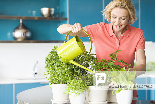 Caucasian woman watering plants in kitchen