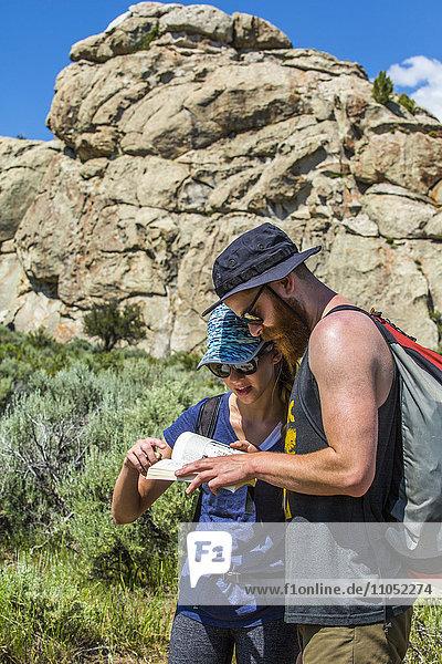 Caucasian couple reading guidebook near mountain