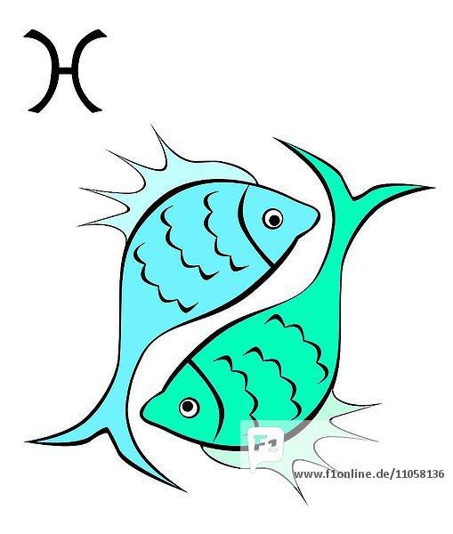 Sternzeichen Fische  Horoskop  Illustration
