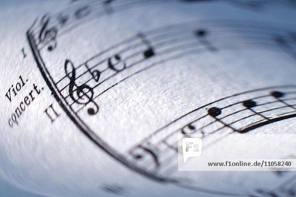 Musiknoten  Notenheft  Partitur  Close-up