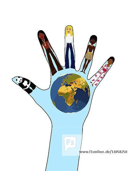 Unterschiedliche Nationalitäten  Indianer  Europäerin  Afrikaner  Asiatin  sowie Pandabär und Erdkugel  auf eine Hand gemalt  Zeichnung