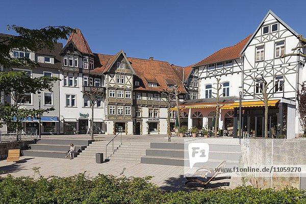 Fachwerkhäuser in der Fußgängerzone  Bad Salzuflen  Nordrhein-Westfalen  Deutschland  Europa