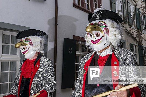 Maskierte Musikanten  Basler Fasnacht  Basel  Kanton Basel  Schweiz  Europa