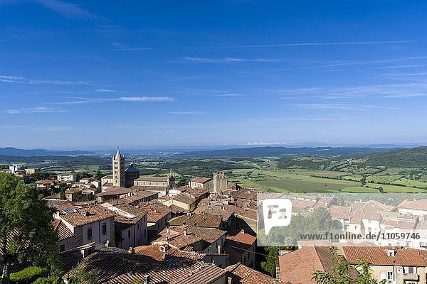 View over houses towards valley  Massa Marittima  Tuscany  Italy  Europe