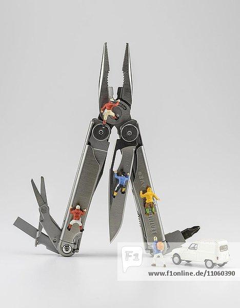 Leatherman Tool  Multifunktionswerkzeug mit Bergsteiger Figuren