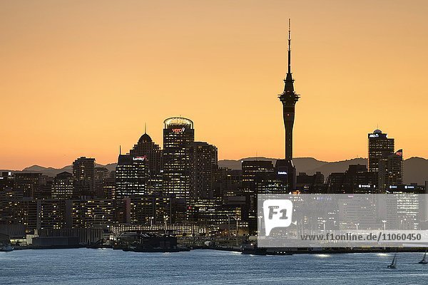 Skyline von Auckland in Abendstimmung  Central Business District CBD  Auckland  Neuseeland  Ozeanien