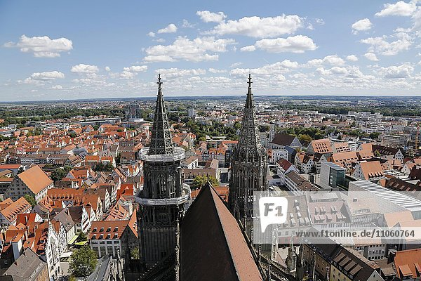 Ulm Cathedral  view from the west tower to the nave and the towers  Ulm  Baden-Württemberg  Germany  Europe