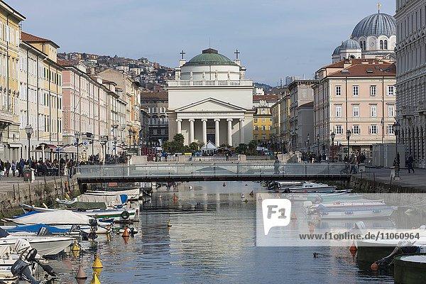 Grand Canal  in the rear Church of Sant'Antonio Taumaturgo  Classicism  Trieste  Friuli-Venezia Giulia  Italy  Europe