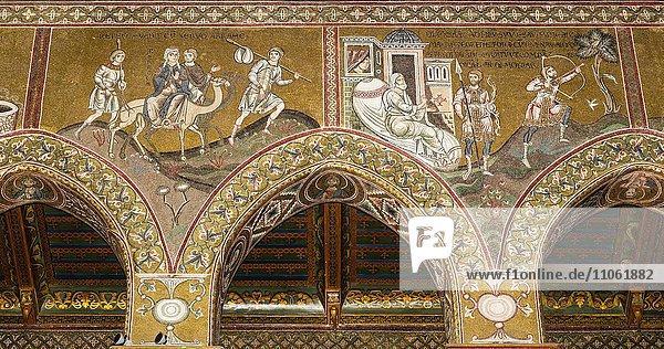 Byzantinische Mosaiken  Reise der Rebekka und Isaak und Esau  Nordwand Mittelschiff  Altes Testament  Dom von Monreale oder Kathedrale Santa Maria Nuova  Monreale  Provinz Palermo  Sizilien  Italien  Europa