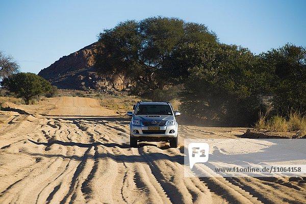 Geländewagen fährt auf einer Sandpiste im Süden  Keetmanshoop  Karas  Namibia  Afrika