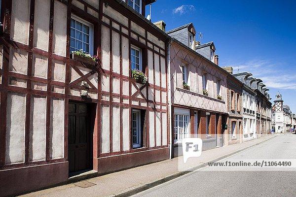 Straße mit Häusern in Yport  Département Seine-Maritime  Normandie  Frankreich  Europa