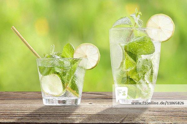 Cocktail Hugo  mit Limette  Pfefferminze