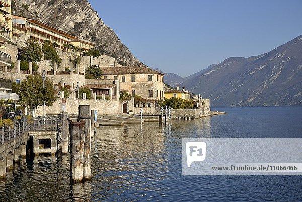 Seepromenade von Limone sul Garda  Gardasee  Provinz Brescia  Lombardei  Italien  Europa