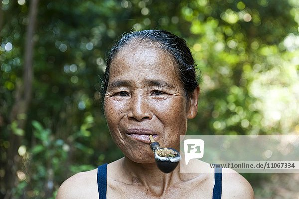 Frau mit Pfeife im Mund  Khmu-Ethnie  Portrait  Ban Nalan  Luang Namtha Provinz  Laos  Asien