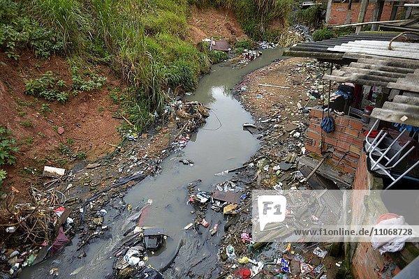 Polluters Bach  sewer  in the favela Jardim Celeste  Zona Sul  São Paulo  Brazil  South America