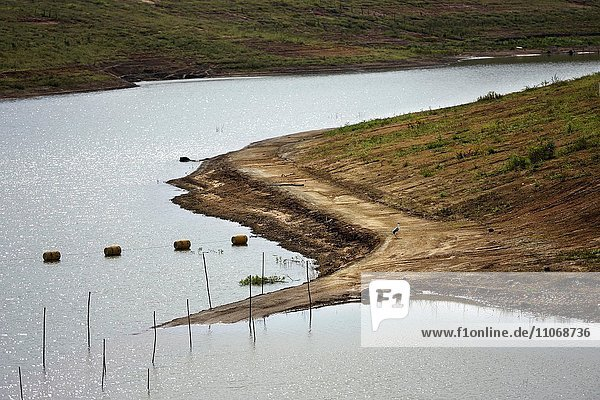 Jaguari reservoir with low water after a long drought  drinking water for Sao Paulo  Brazil  South America