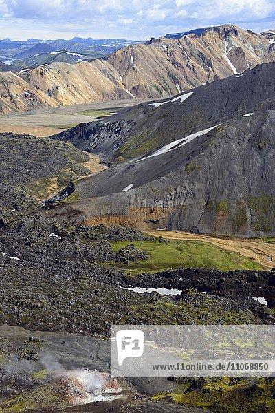 Vulkanische Landschaft  Laugahraun  Fjallabak Nationalpark  Landmannalaugar  Island  Europa