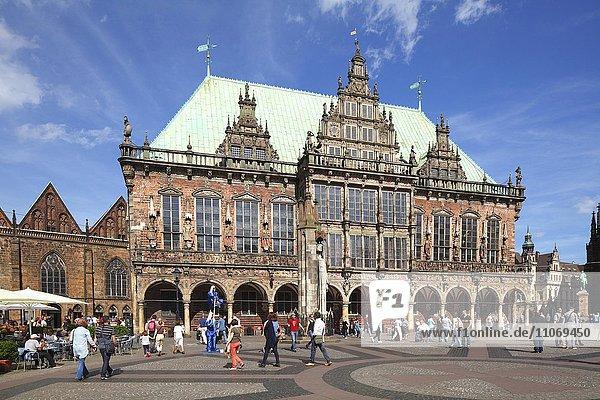 Altes Rathaus und Marktplatz  Bremen  Deutschland  Europa