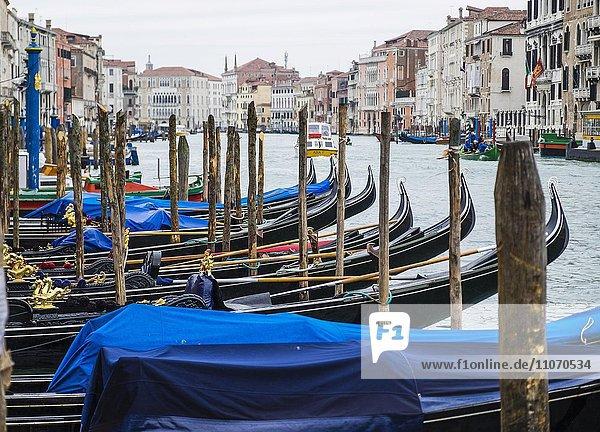 Gondeln  Canale Grande  Venedig  Venetien  Italien  Europa