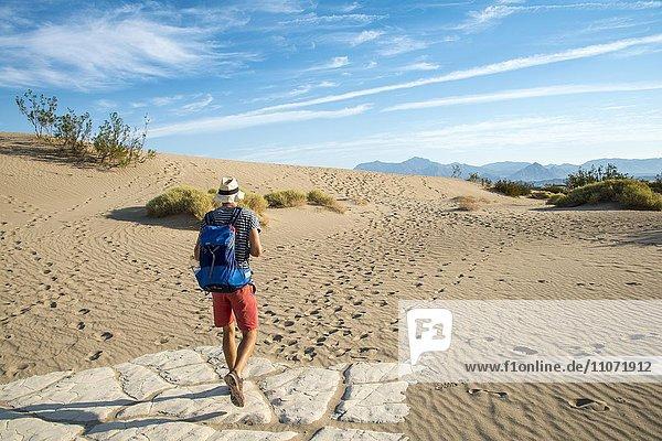 Junger Mann  Tourist wandert auf Sanddünen  Mesquite Flat Sand Dunes  Death Valley  Death-Valley-Nationalpark  Kalifornien  USA  Nordamerika