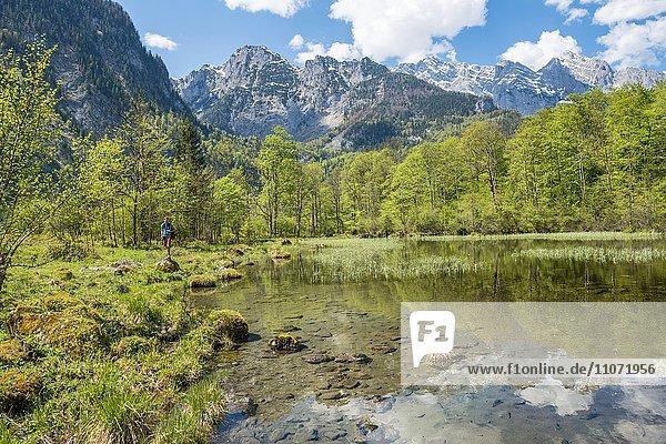 Junger Mann am See  Berge spiegeln sich im Mittersee  Salet am Königssee  Nationalpark Berchtesgaden  Berchtesgadener Land  Oberbayern  Bayern  Deutschland  Europa