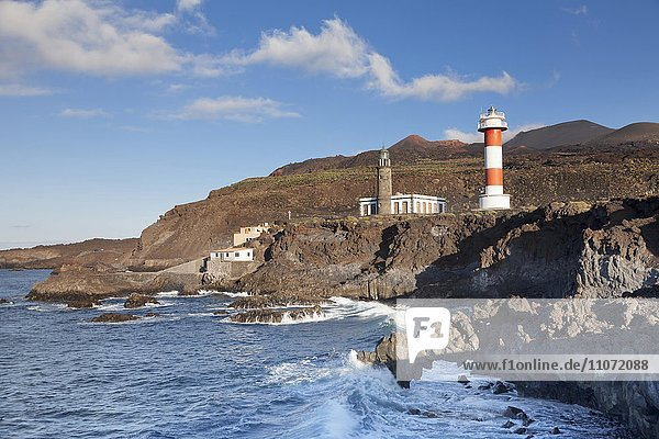 Faro de Fuencaliente lighthouse,  behind volcano Teneguia,  Fuencaliente,  La Palma,  Canary Islands,  Spain,  Europe