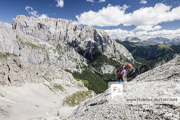 Bergsteiger beim Aufstieg auf die Cima d'Auta über den Klettersteig Via Ferrata Paolin Piccolin bei Colmean  hinten die Marmolata Südwand  Falcade  Valle del Biois  Dolomiten  Belluno  Italien  Europa
