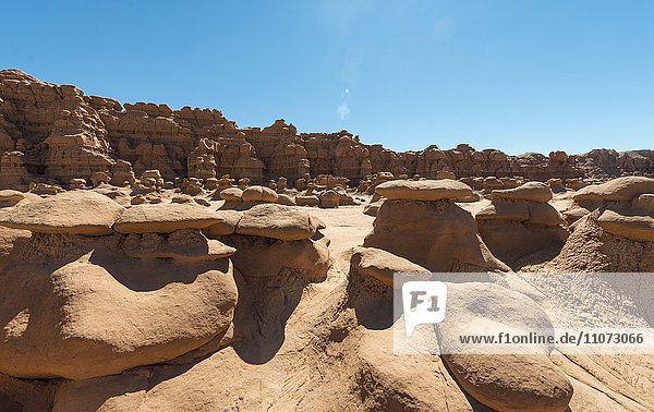 Erodierte Hoodoos  Felsformation aus Entrada-Sandstein  Goblin Valley State Park  San Rafael Reef Wüste  Utah  Südwesten  USA  Nordamerika