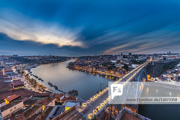 View over Porto with Dom Luís I Bridge across River Douro  dusk  Porto  Portugal  Europe