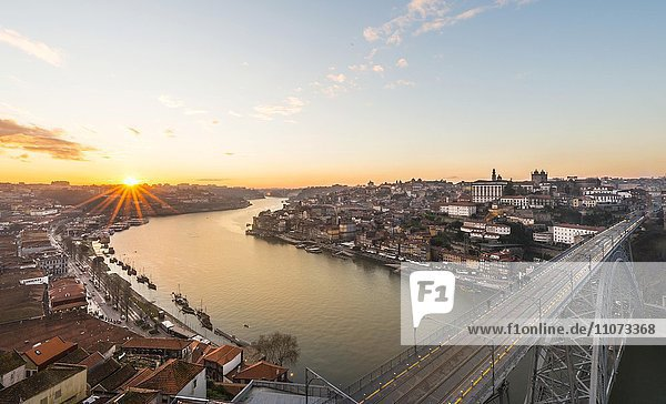 View over Porto with Dom Luís I Bridge across River Douro  sunset  Porto  Portugal  Europe
